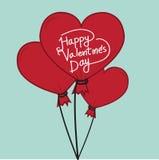 Día de tarjetas del día de San Valentín feliz con el balón de aire del corazón Imagenes de archivo
