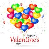 Día de tarjetas del día de San Valentín feliz con los globos del corazón Ilustración del vector Foto de archivo libre de regalías