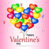 Día de tarjetas del día de San Valentín feliz con los globos del corazón Ilustración del vector Imágenes de archivo libres de regalías