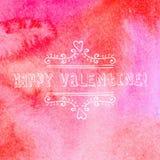Día de tarjetas del día de San Valentín feliz de la tarjeta de felicitación textura y letras de la acuarela Imagen de archivo
