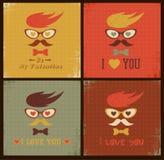 Día de tarjetas del día de San Valentín feliz de la tarjeta retra de la cara del inconformista Imagen de archivo