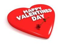 Día de tarjetas del día de San Valentín feliz - el corazón rojo y se levantó ilustración del vector