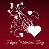 Día de tarjetas del día de San Valentín feliz Estalle del corazón blanco Imagen de archivo libre de regalías