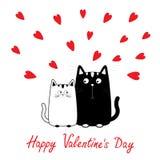 Día de tarjetas del día de San Valentín feliz Muchacho del gato del negro lindo de la historieta y familia blancos de la muchacha Foto de archivo libre de regalías
