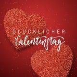 Día de tarjetas del día de San Valentín feliz poniendo letras a la inscripción alemana hecha a mano Fotos de archivo libres de regalías