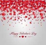 Día de tarjetas del día de San Valentín feliz Tarjeta de caer roja de los corazones Foto de archivo