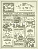 Día de tarjetas del día de San Valentín festivo del periódico de las noticias Fotografía de archivo