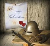Día de tarjetas del día de San Valentín medieval Fotografía de archivo