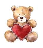 Día de tarjetas del día de San Valentín Teddy Bear Holding un corazón grande stock de ilustración