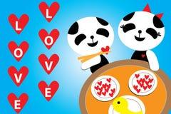 Día de tarjetas del día de San Valentín, cena amor panda azul romántico del 14 de febrero imágenes de archivo libres de regalías