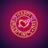 Día de tarjetas del día de San Valentín feliz con la señal de neón del corazón de Arrowed Foto de archivo