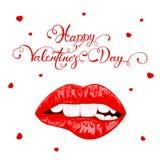 Día de tarjetas del día de San Valentín feliz con los labios femeninos rojos ilustración del vector