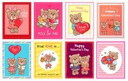 Día de tarjetas del día de San Valentín feliz te amo fijado de oso del cartel Imagen de archivo