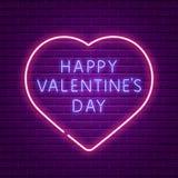 Día de tarjetas del día de San Valentín feliz Texto que brilla intensamente del neón Foto de archivo libre de regalías