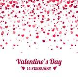 Día de tarjetas del día de San Valentín - vector la tarjeta de felicitación con el fondo del blanco de los corazones ilustración del vector