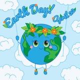 Día de tierra 22 de abril Tarjeta de felicitación ilustración del vector