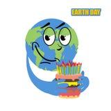 Día de tierra Tierra y torta del planeta torta grande del día de fiesta con las velas Imagenes de archivo
