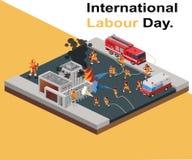 Día de trabajo internacional donde el departamento de bomberos está ayudando a concepto isométrico de las ilustraciones de la gen ilustración del vector
