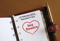 Día de Valentineâs en un organiz personal Imagen de archivo