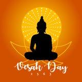 Día de Vesak con la flor budista de la silueta y de loto y el fondo anaranjado de la gradación libre illustration