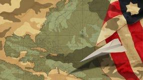 Día de veteranos Bandera de los E.E.U.U. del aeroplano de papel Imágenes de archivo libres de regalías