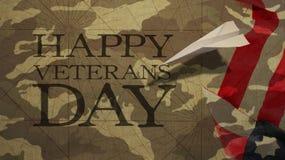 Día de veteranos feliz Aeroplano de papel y camuflaje Imágenes de archivo libres de regalías