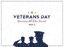 Día de veteranos feliz Tarjeta de felicitación con el soldado en fondo Evento americano nacional del día de fiesta Ejemplo plano  stock de ilustración