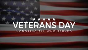 Día de veteranos, honrando a todos que sirvieron, bandera de los E.E.U.U., animación de HD, bandera de la web ilustración del vector