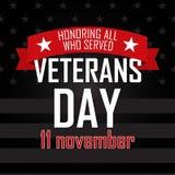 Día de veteranos Honrando a todos que sirvieron 11 de noviembre stock de ilustración