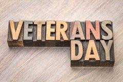 Día de veteranos - redacte el extracto en el tipo de madera Foto de archivo libre de regalías