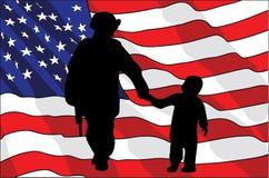 Día de veteranos Un soldado americano y un niño Indicador americano Ilustración del vector Foto de archivo libre de regalías