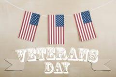 Día de veteranos y bandera americana Imágenes de archivo libres de regalías