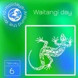 Día de Waitangi Día nacional de Nueva Zelanda Lagarto étnico Calendario Días de fiesta en todo el mundo Evento de cada día stock de ilustración