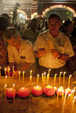 Día de Wesak en el templo budista de Maha Vihara Imágenes de archivo libres de regalías