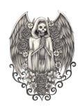 Día del ángel del cráneo del arte de los muertos Imagenes de archivo