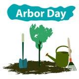Día del árbol 29 de abril Árbol Herramientas de jardín Pala, rastrillo, regadera Ilustración del vector libre illustration
