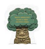 ¡Día del árbol feliz! Ejemplo del vector por un día de fiesta Símbolo de la arboricultura, bosques, agricultura Espacio para el t Imagen de archivo