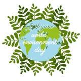 Día del ambiente mundial en estilo plano en fondo verde Logotipo de la naturaleza Globo de la historieta Historieta del vector Ex stock de ilustración