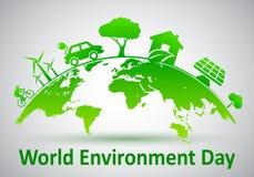 Día del ambiente mundial, planeta de la ecología - vector libre illustration