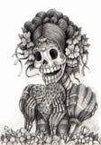 Día del arte del cráneo de los muertos Gráfico de la mano en el papel stock de ilustración