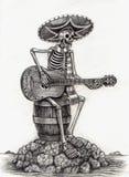 Día del arte del cráneo de los muertos Gráfico de la mano en el papel libre illustration