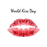 Día del beso del mundo 6 de julio Labios del rojo de la acuarela Impresión de labios y del beso impresión Ejemplo del vector en f Imagen de archivo libre de regalías