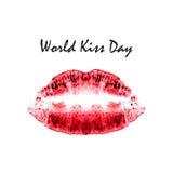 Día del beso del mundo 6 de julio Labios del rojo de la acuarela Impresión de labios y del beso impresión Ejemplo del vector en f Foto de archivo