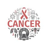 Día del cáncer Bandera de Infographics Línea iconos fijados Muestra del vector para el gráfico del web stock de ilustración