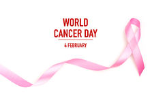Día del cáncer del mundo: Cinta de la conciencia del cáncer de pecho en Backg blanco fotos de archivo libres de regalías