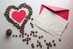 Día del café y de tarjeta del día de San Valentín Imágenes de archivo libres de regalías