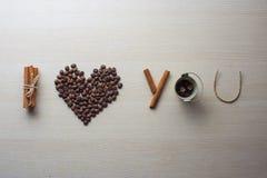 Día del café y de tarjeta del día de San Valentín Imagen de archivo
