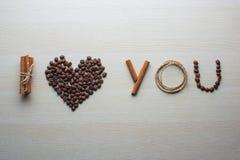 Día del café y de tarjeta del día de San Valentín Fotografía de archivo libre de regalías