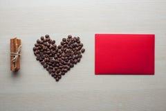 Día del café y de tarjeta del día de San Valentín Imagenes de archivo
