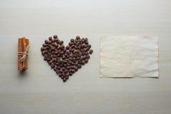 Día del café y de tarjeta del día de San Valentín Fotografía de archivo
